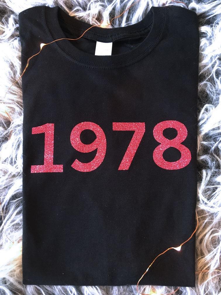 Année Glitter T-shirt pour hommes ou dames 21e, 50e, 30e, 40e, 50e, 21e, 60e anniversaire, anniversaire, fête de naissance: 1997, 1988, 1978, 1968, 1958 etc! e369db