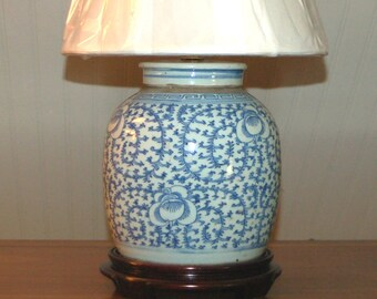 Chinese Ginger Jar Lamp Pair Antique Porcelain Canton Blue Etsy