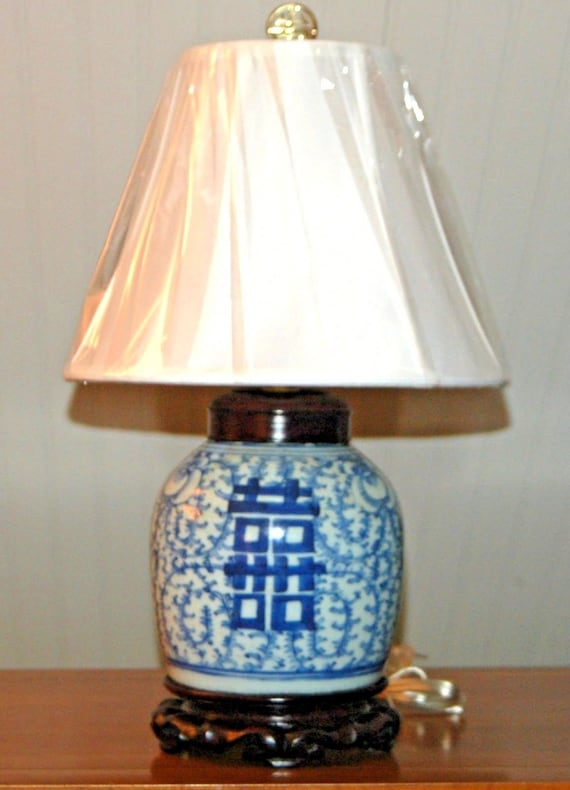 Antique Chinese Ginger Jar Lamp Blue And White Porcelain Etsy