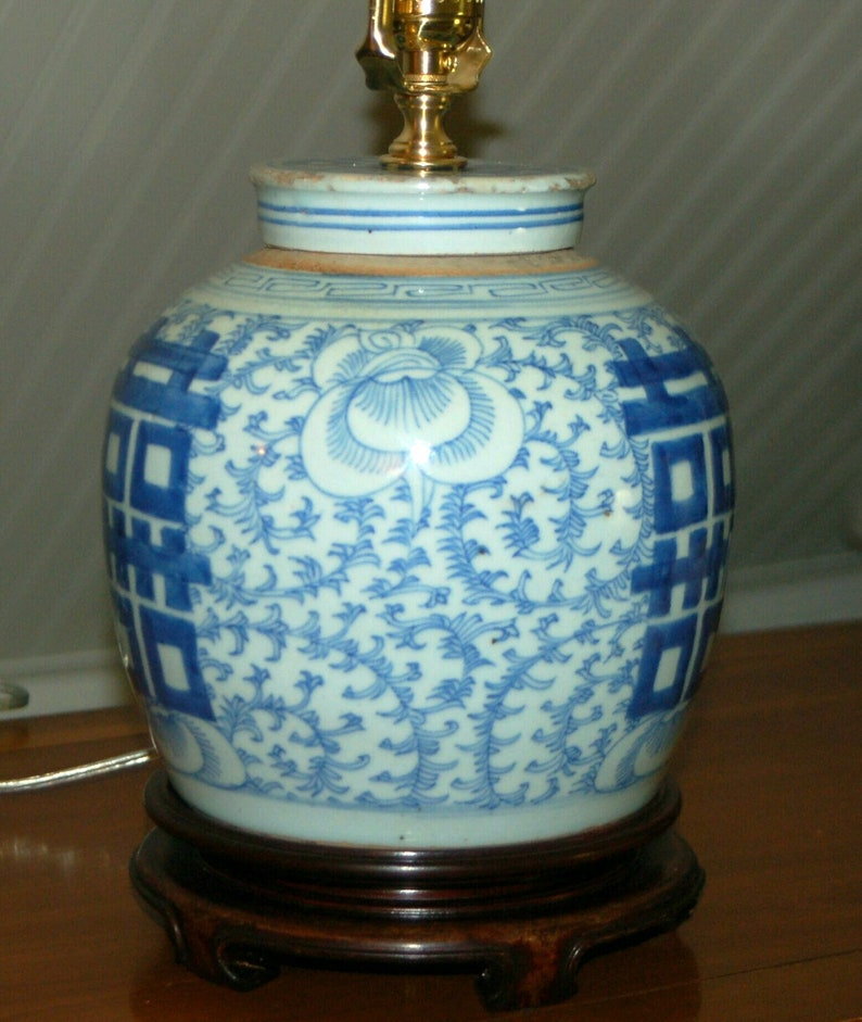 Chinese Ginger Jar Lamp Blue White Porcelain Double Happiness 3 A