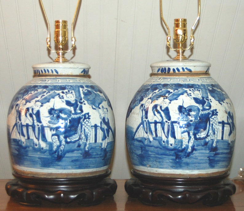 Chinese Ginger Jar Lamps Blue White Porcelain Qilin Boys Foo Etsy