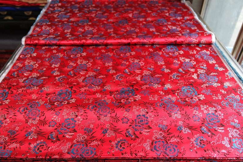 93af4c40c Chinese silk brocade woven damask fabric cheongsam cushion red   Etsy