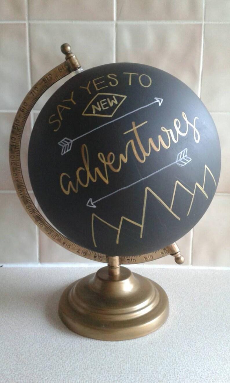 Hand Painted Globe 8. Chalkboard Globe image 0