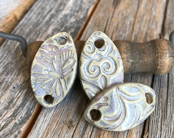 Set of 3 Small Ceramic Curved Connectors | Ceramic Jewelry Connectors | Stoneware bracelet supply | DIY Pottery Pointed Oval Bracelet bars