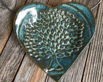 "Ceramic ""Tree of Life"" Heart Ring Dish | Blue Stoneware Tea Bag Holder | Tree Pottery Spoon rest | Ceramic Trinket Dish | Housewarming"