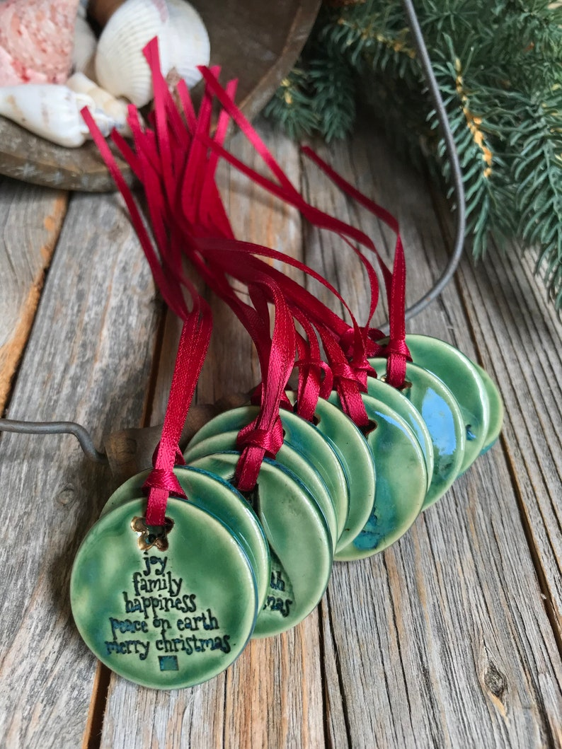 Christmas Pottery Joy Family Peace Gift Tag Merry Christmas Tree Ornament Holiday Decor 1 Ceramic Green Christmas Tree Ornament