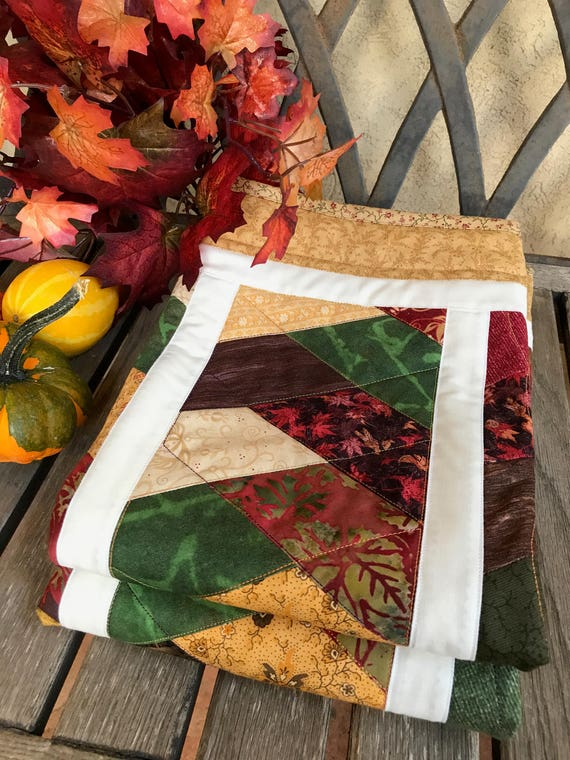 Fall Friendship Braid Quilted Table Topper Autumn Prints Etsy