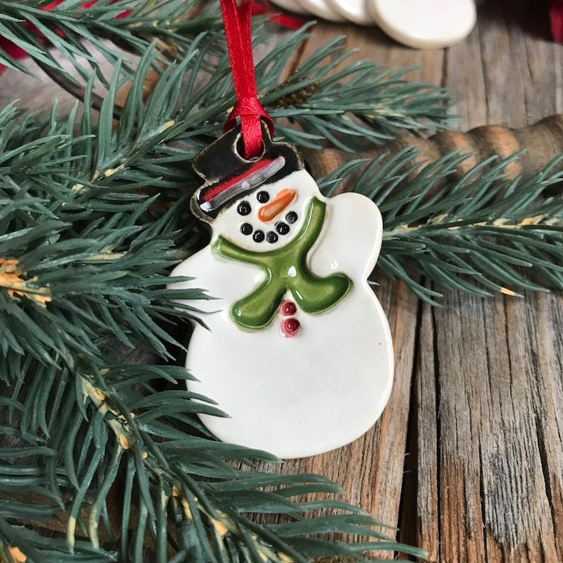 1 Ceramic Snowman Ornament Christmas Snowman Ornament Stoneware Snowman Gift Tag Pottery Snowman Christmas Snowman Gift Tag