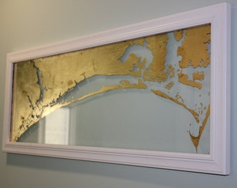 Framed Gold North Carolina Crystal Coast on Glass