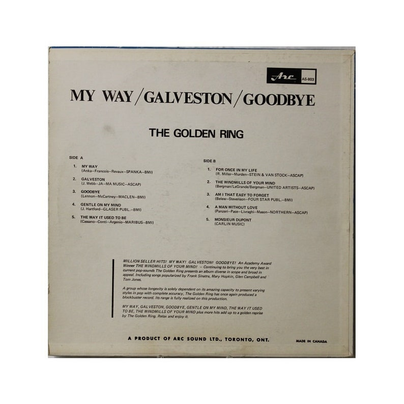 Golden Ring, My Way, Galveston, Goodbye, Arc Records, Canada 1960s, Country  Vinyl