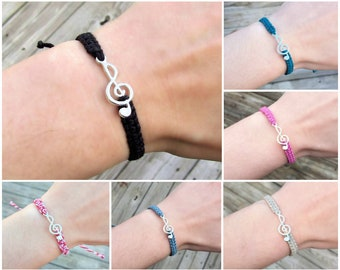 Treble Clef Bracelet - Hemp Music Bracelet - Piano Teacher Musician Gift - Singer Piano Music Lover - Silver or Gold, Black Blue Purple Red