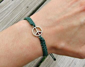 Peace Sign Charm BraceletTube Bead Bracelet With CharmsLight Blue Beaded Bracelet with Peace Sign CharmBeaded bracelet with peace sign