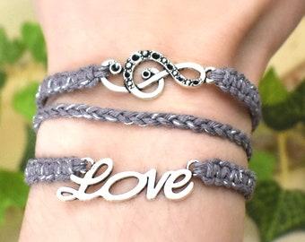 Music Lover Bracelet - 3 in 1 Macrame Braided Hemp Bracelet - Treble Clef Jewelry Gifts for Musicians and Singers - Choir Teacher Gift