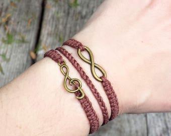 Hemp Music Forever 3 in 1 Bracelet - Treble Clef Infinity Jewelry - Musician Gift for Music Lover Singer Pianist Choir Teacher - Men Women