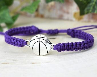 Hemp with Silver Tone Charm on Printed Card Adjustable Horseshoe Purple Wish Bracelet Unisex