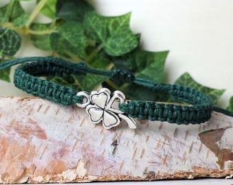 Four Leaf Clover Bracelet - Adjustable Shamrock Jewelry - Good Luck - Irish Gifts for Men or Women Him Her - Ireland Lucky St Patricks Day