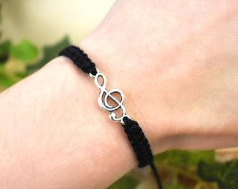 Music Bracelet - Treble Clef Jewelry - Adjustable Hemp Bracelet for Men or Women - Gift for Musician, Singer, Piano Teacher, Guitar Player