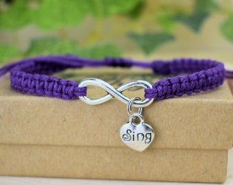 Singer Bracelet with Infinity and Sing Charms - Adjustable Hemp Bracelet Music Gift for Singers - Choir Gifts - The English Ivy