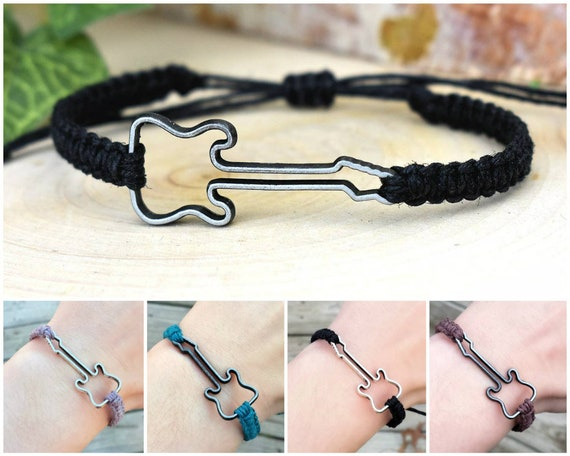 Guitar Bracelet - Hemp Music Themed Bracelet - Electric Guitar, Bass Jewelry - Gift for Guitar Player, Musician Men, Women, Guitarist Gift