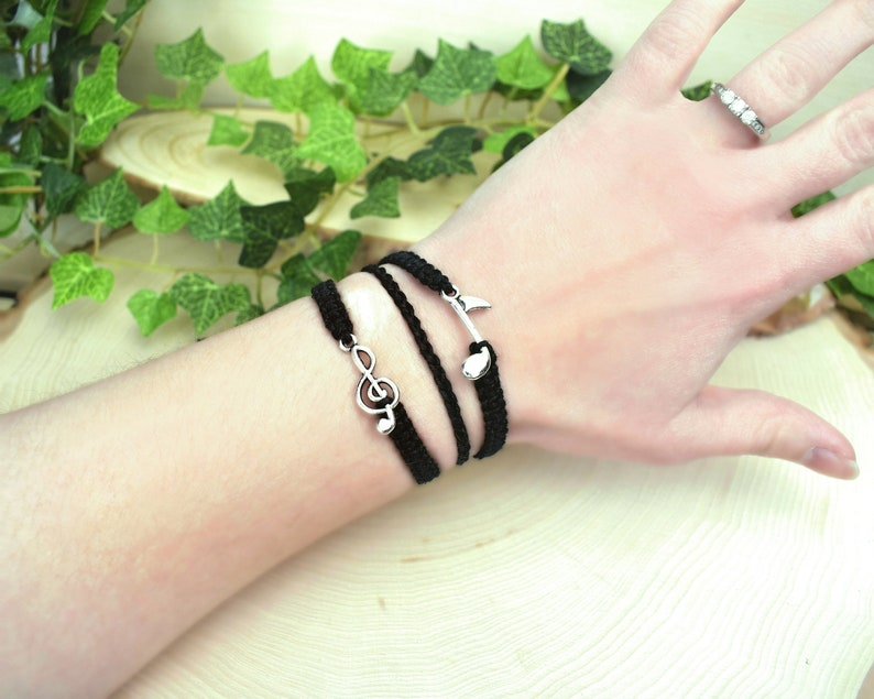 Hemp Music Bracelet  3 in 1 Treble Clef and Eighth Note Charm image 1