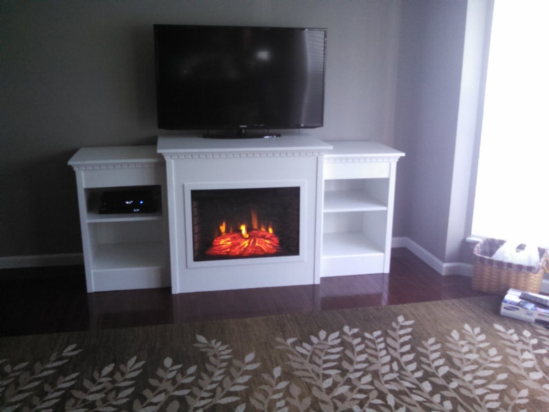 Custom Electric Fireplace Mantel Entertainment Center Tv Stand Etsy