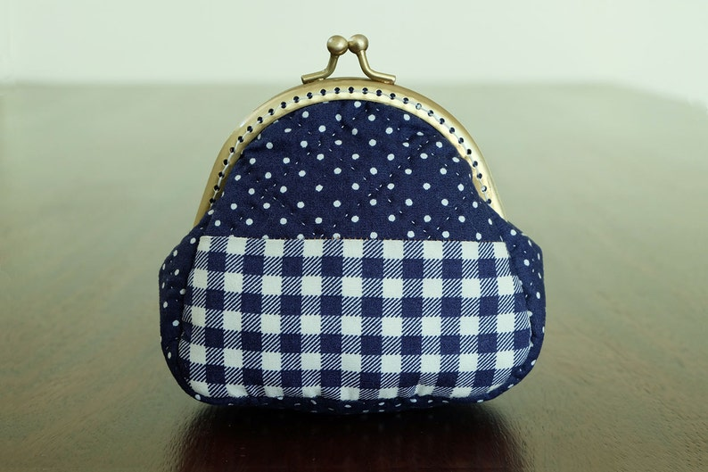 bbee7c43d1 Navy Plaid Quilted Frame Purse Small Coin Bag Kiss Lock Pouch Change Wallet  Cotton Fabric Soft Touch Trinket Padded Ready to Ship by CNX2U