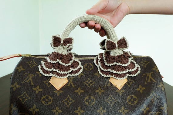 7ea04ca76e33 Cream Crochet Handles Crochet Covers Zipper Louis Vuitton LV