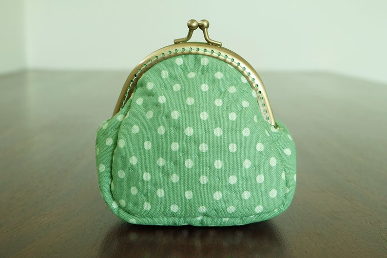 76f24ecbad Green Polka Dot Quilted Frame Purse Small Coin Bag Kiss Lock Pouch Change  Wallet Cotton Fabric Trinket Padded Ready to Ship by CNX2U