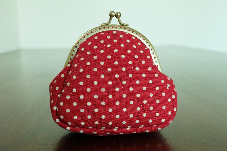 1a71b6bf57 Red Polka Dot Quilted Frame Purse Small Coin Bag Kiss Lock Pouch Change  Wallet Cotton Fabric Soft Touch Trinket Padded Ready to Ship byCNX2U
