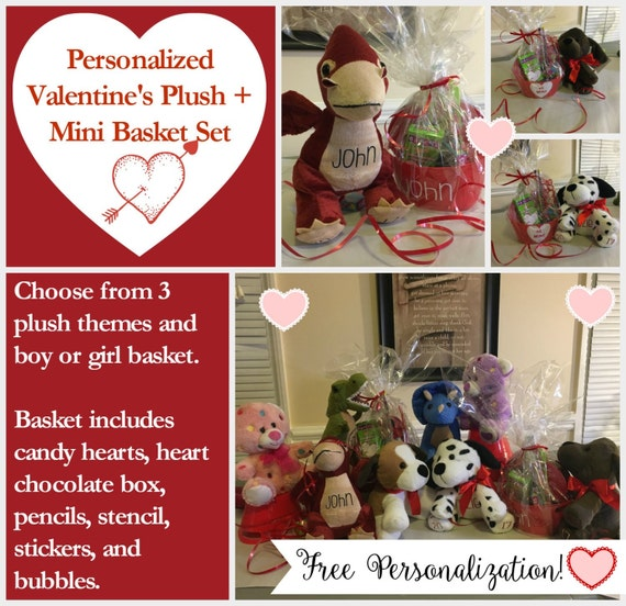 Valentines Gift Set Personalized Stuffed Animals Gifts For Etsy