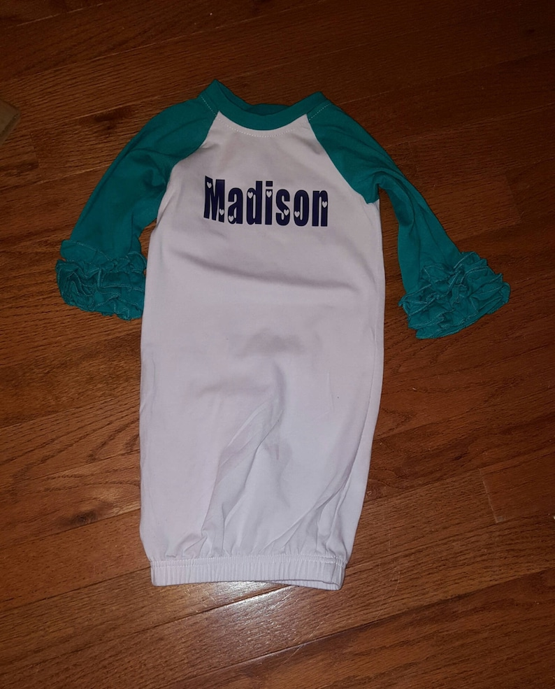 5ebf5611d Ruffeld Plain Personalized Infant Gowns Infant Gifts Baby