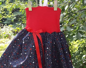 Miss Lily Dress Baby Photo Prop Navy Blue Patriotic Stars