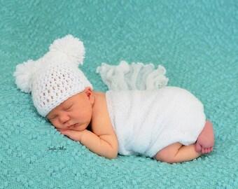 White Newborn Teddy Bear Crochet Beanie Photo Prop
