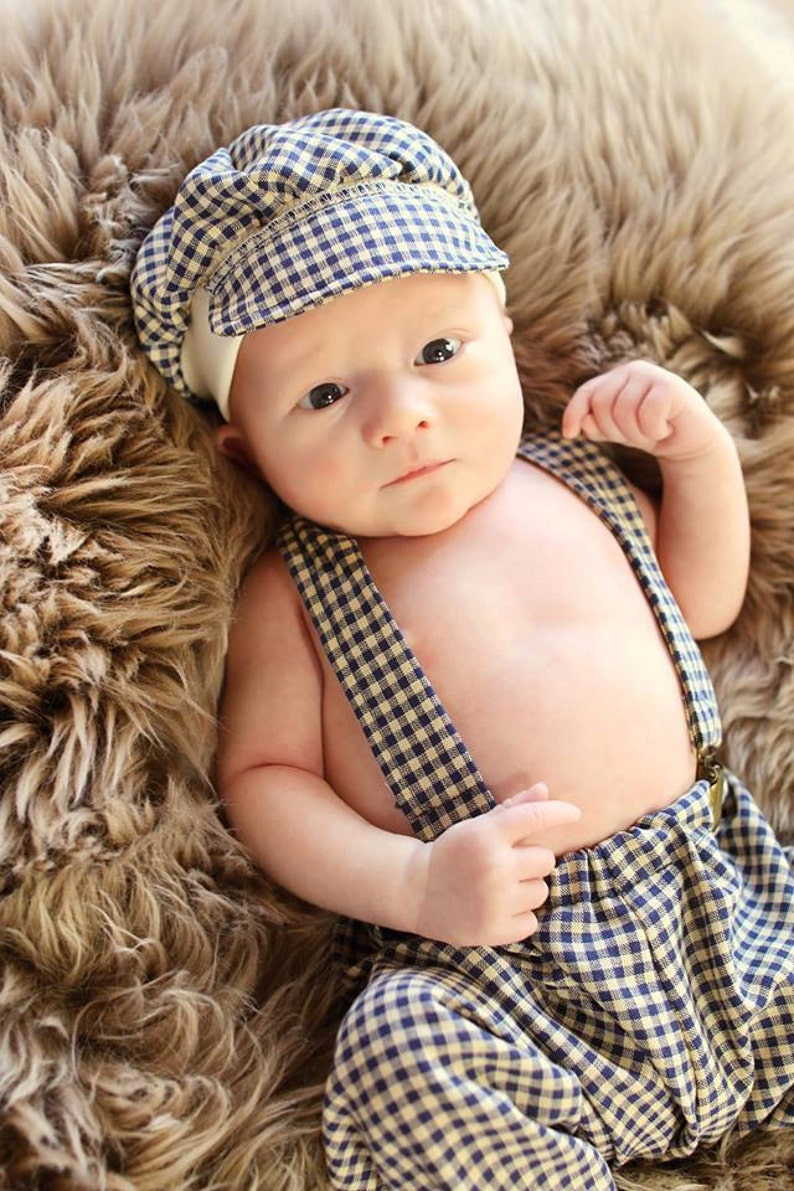 Oliver Pant Set Photo Prop NavyBeige Checkered