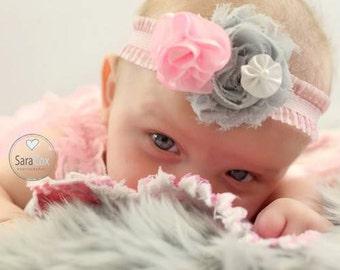 Pink/Gray Kara Newborn Flower Headband Photo Prop