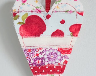 Fabric Heart Bunting Banner red, purple & cream