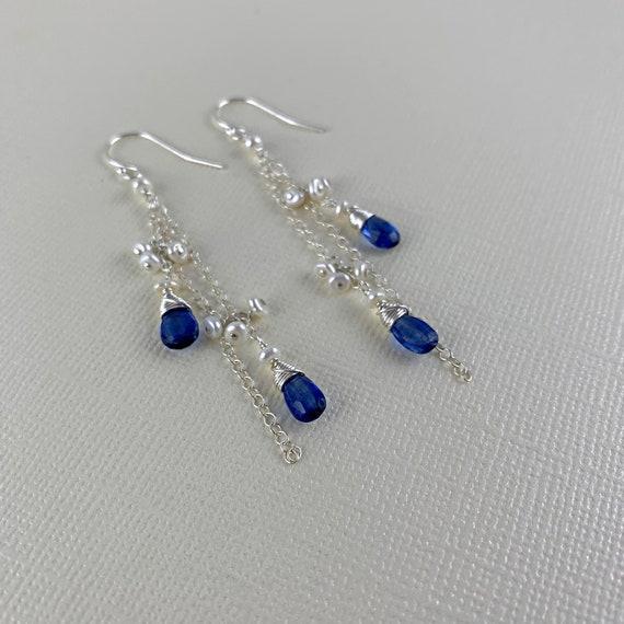 Pearl earrings Long blue earrings Kyanite earrings