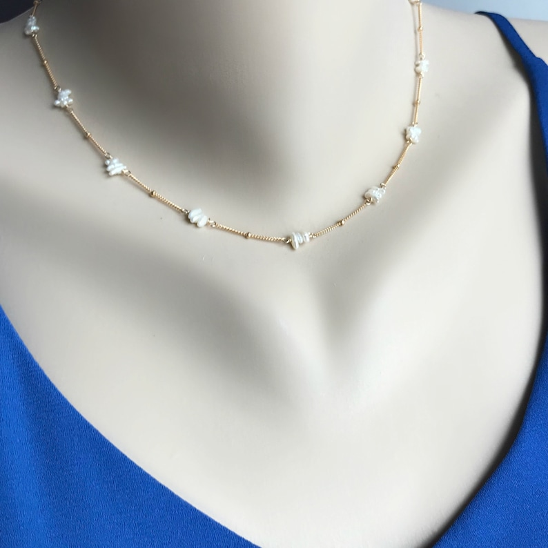 Pearl Necklace Choker Necklace Layering Necklace Dainty Necklace Handmade Jewelry June Birthstone Wedding Necklace Pearl Jewelry