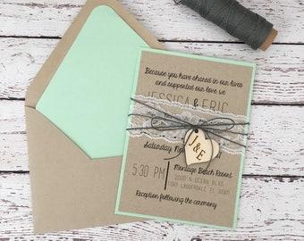 Mint Wedding Invite Etsy