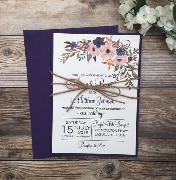 Rustic Wedding Invitation Purple Floral Wedding Invitation Etsy
