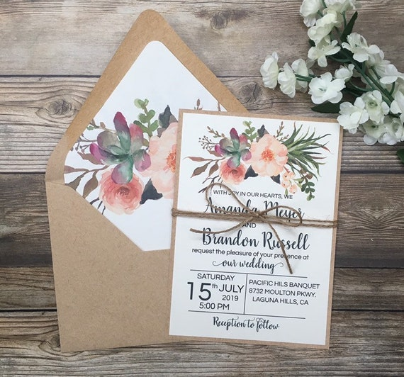 Wedding Invitation Packages Canada: Desert Wedding Invitation Cactus Wedding Invitation