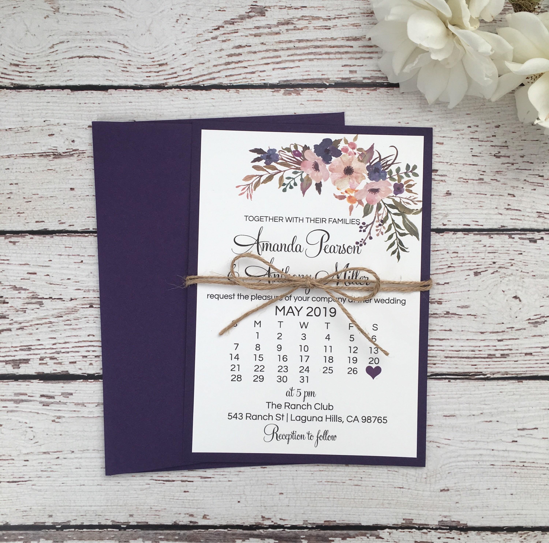 Purple Rustic Wedding Invitations: Rustic Wedding Invitation Purple Floral Wedding Invitation