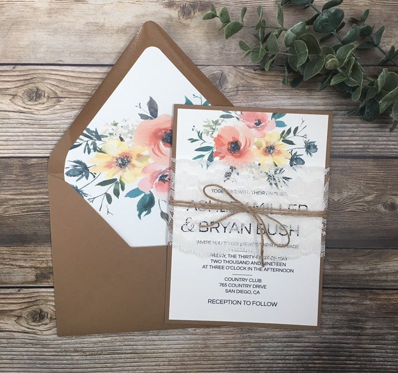 Peach And Orange Wedding Invitation Yellow Rustic Floral Lace Peony