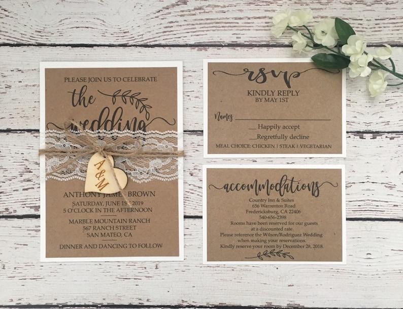 Rustic Wedding Invitation Lace Wedding Invitation Twine Etsy