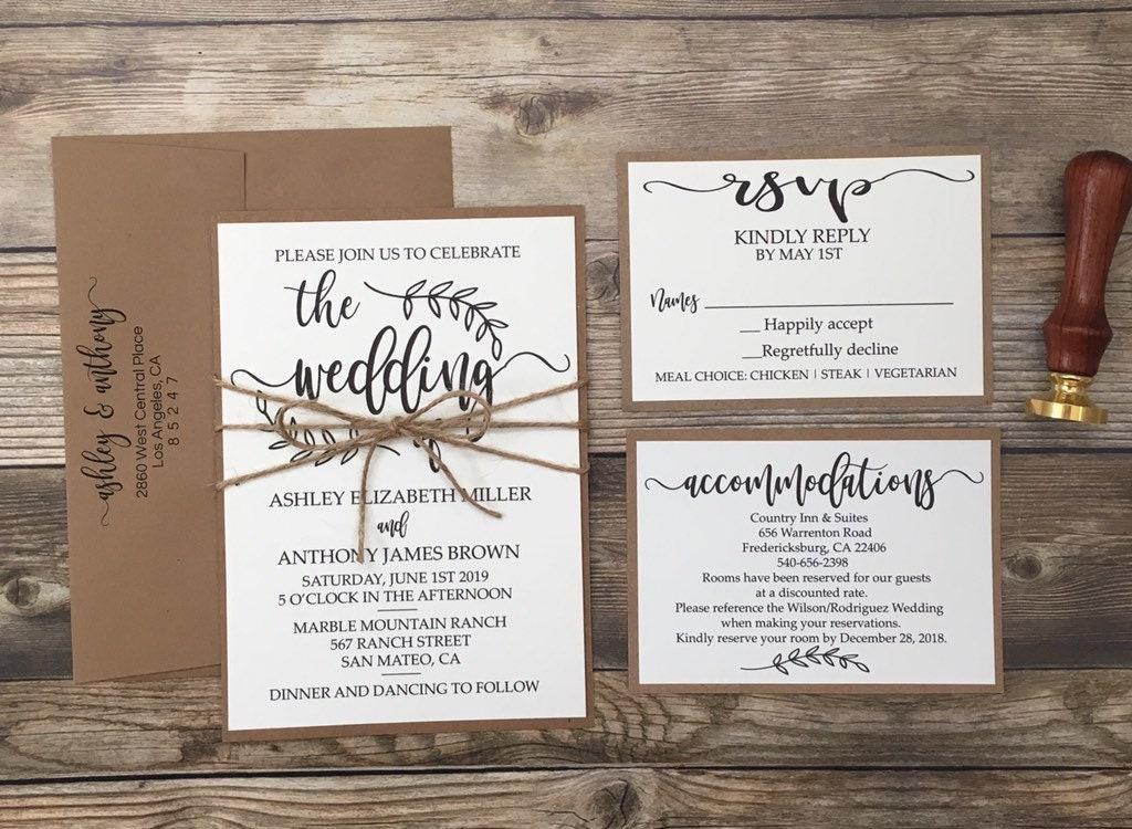 Rustic Wedding Invitations Nz: Rustic Wedding Invitation Rustic Calligraphy Wedding