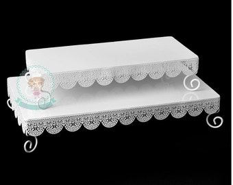 FAST Shipping!! 2 Pieces  Rectangle Eyelet Cake Stand- White