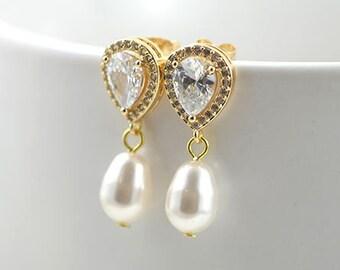 Pearl Bridal Gold Earrings, Gold Teardrop Earrings, Cubic Zirconia EarringsWedding Jewellery, Bridesmaids Earrings, Pearl Earrings jewellery