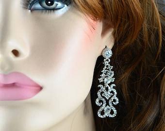 Vintage Style Silver Earrings Cubic Zirconia Crystals Bridal Wedding Earrings, Bridesmaids Statement Silver Bridal Dangle Earrings Jewellery