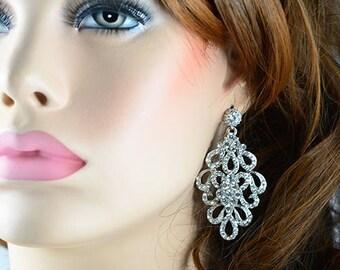 Vintage Style Elegant Silver Bridal Earrings Jewellery, Cubic Zirconia Crystals Long Dangle Earrings Wedding Jewelry, Bridesmaids Earrings