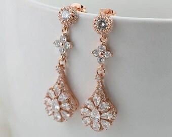 Bridal Earrings Rose Gold Teardrop Earrings Cubic Zirconia Earrings Crystals wedding earrings Long dangle Earrings Bridal Earrings Jewellery